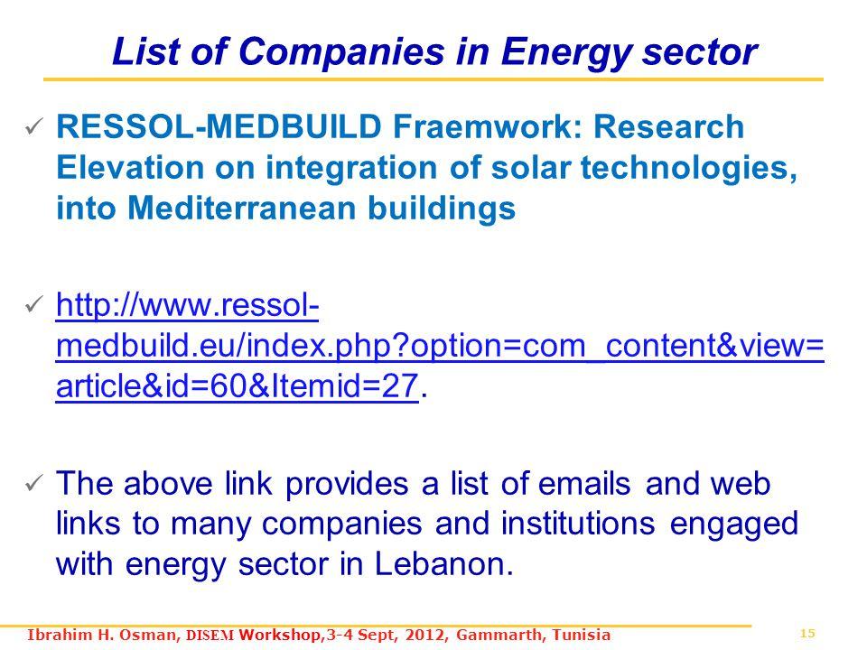 15 Ibrahim H. Osman, DISEM Workshop,3-4 Sept, 2012, Gammarth, Tunisia List of Companies in Energy sector RESSOL-MEDBUILD Fraemwork: Research Elevation