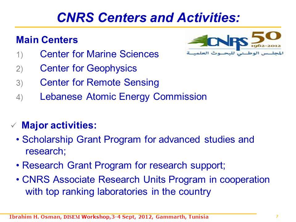 7 Ibrahim H. Osman, DISEM Workshop,3-4 Sept, 2012, Gammarth, Tunisia CNRS Centers and Activities: Main Centers 1) Center for Marine Sciences 2) Center