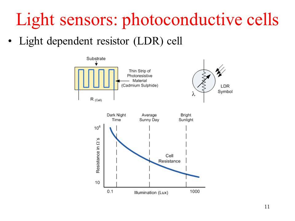 Light sensors: photoconductive cells 11 Light dependent resistor (LDR) cell