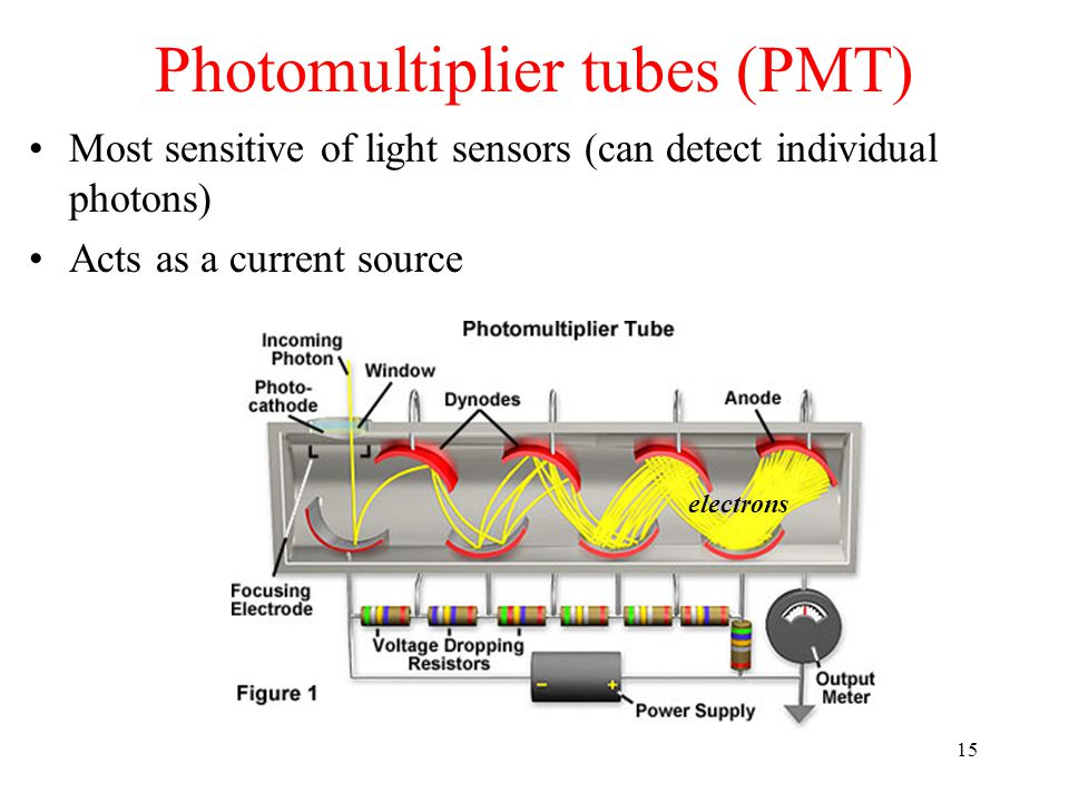 Photomultiplier tubes (PMT) 15 Most sensitive of light sensors (can detect individual photons) Acts as a current source electrons
