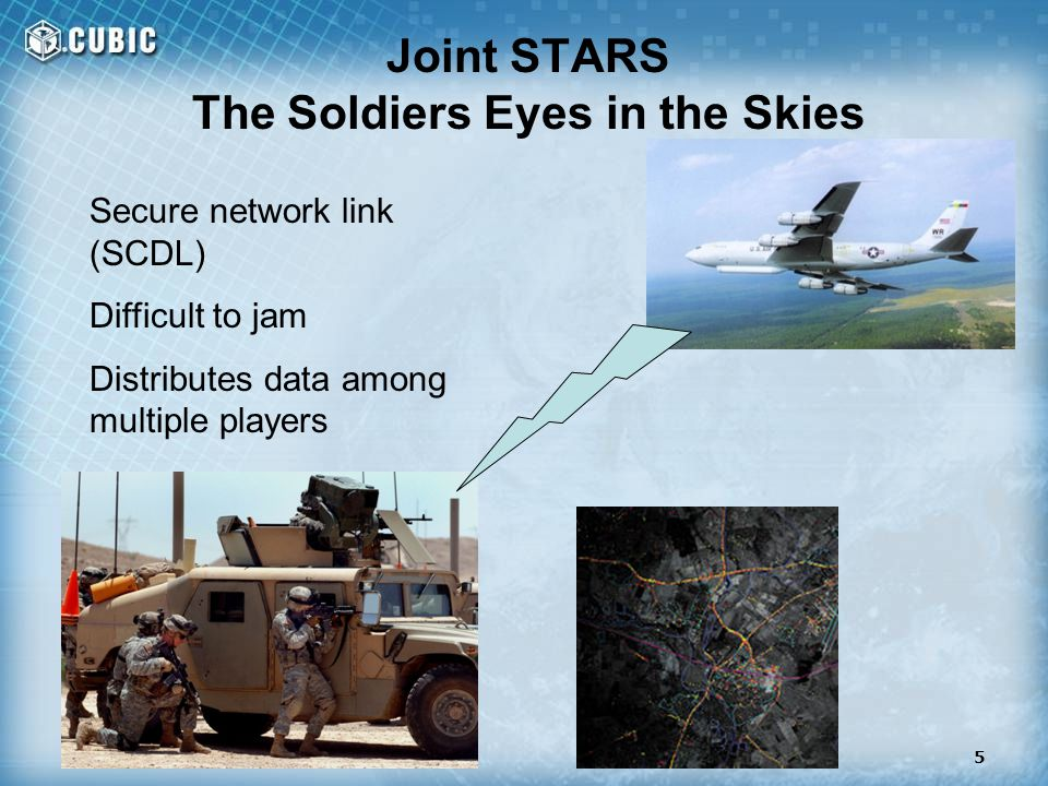 Joint STARS The Soldiers Eyes in the Skies Secure network link (SCDL) Difficult to jam Distributes data among multiple players 5