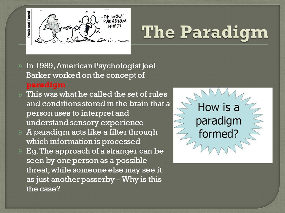 In 1989, American Psychologist Joel Barker worked on the concept of paradigm This was what he called the set of rules and conditions stored in the brain that a person uses to interpret and understand sensory experience A paradigm acts like a filter through which information is processed Eg.