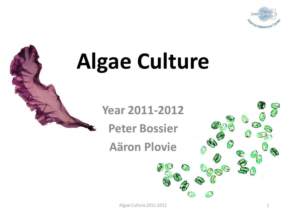 Algae Culture Year 2011-2012 Peter Bossier Aäron Plovie Algae Culture 2011-20121
