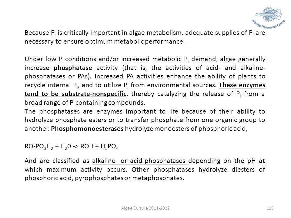 Algae Culture 2011-2012115 Because P i is critically important in algae metabolism, adequate supplies of P i are necessary to ensure optimum metabolic