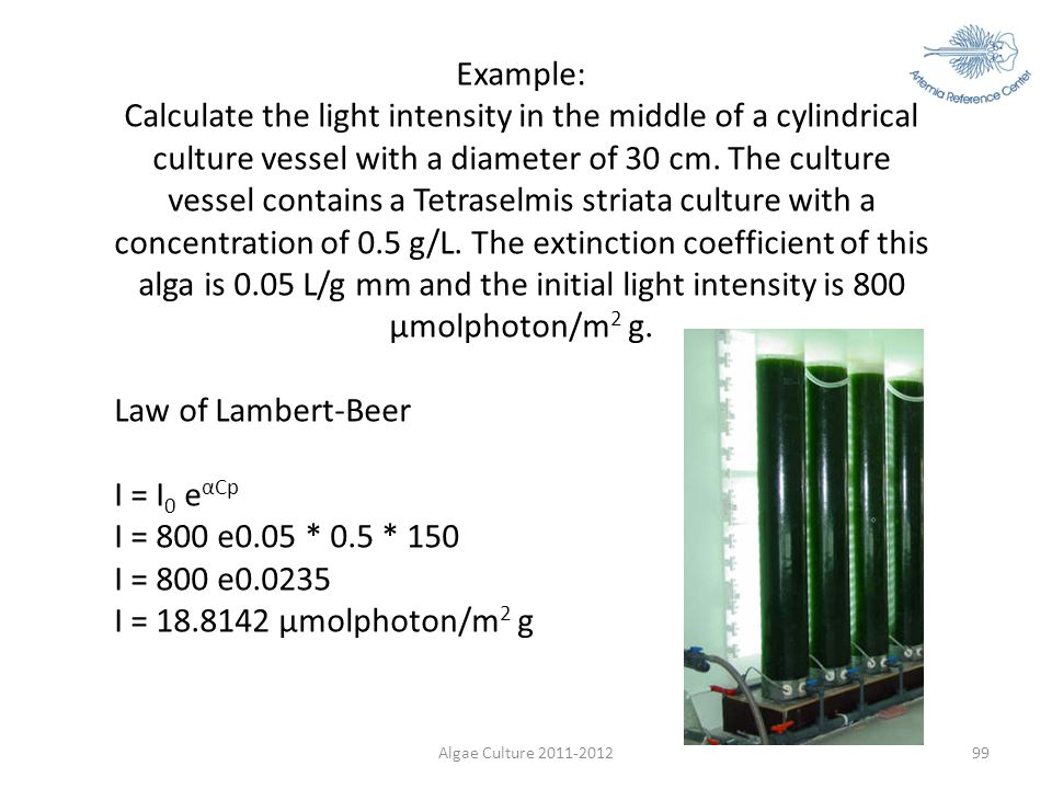 Algae Culture 2011-201299 Example: Calculate the light intensity in the middle of a cylindrical culture vessel with a diameter of 30 cm. The culture v
