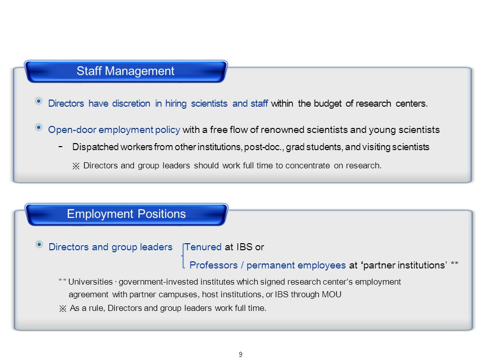 Directors have discretion in hiring scientists and staff within the budget of research centers.