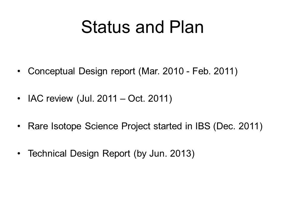 Status and Plan Conceptual Design report (Mar. 2010 - Feb.