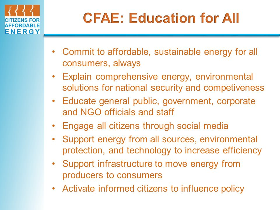 What is CFA Commit to affordable, sustainable energy for all consumers, always Explain comprehensive energy, environmental solutions for national secu