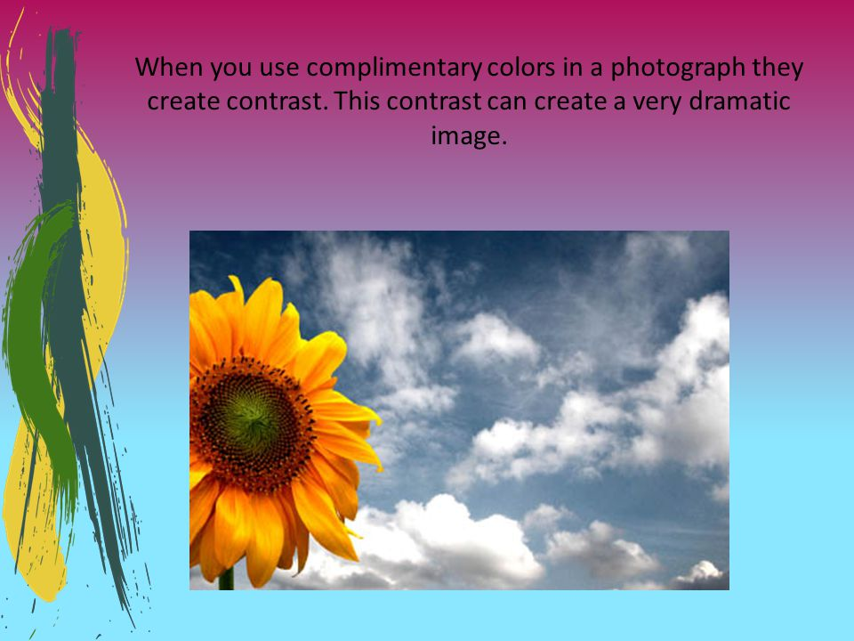 When you use complimentary colors in a photograph they create contrast. This contrast can create a very dramatic image.