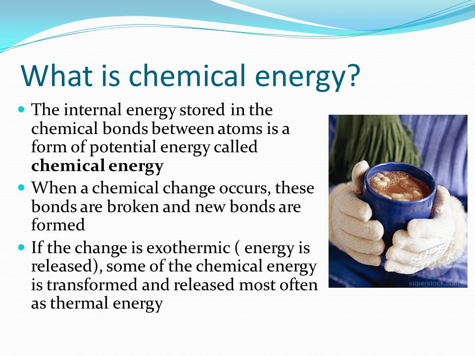 What are some other examples of potential energy? The action of pushing your bike to the top of a hill takes energy This energy is not wasted – instea