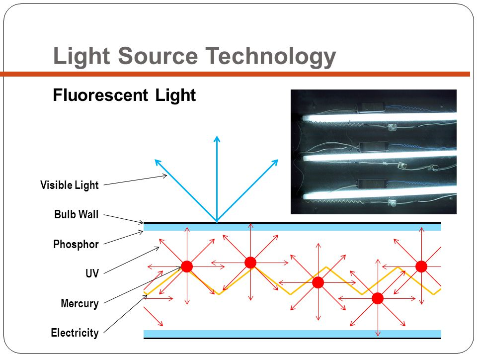 Light Source Technology Fluorescent Light Bulb Wall Phosphor UV Mercury Electricity Visible Light