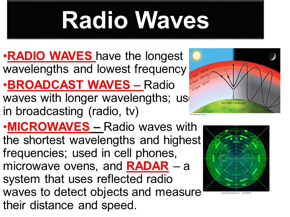 Radio Waves RADIO WAVES have the longest wavelengths and lowest frequency BROADCAST WAVES – Radio waves with longer wavelengths; used in broadcasting