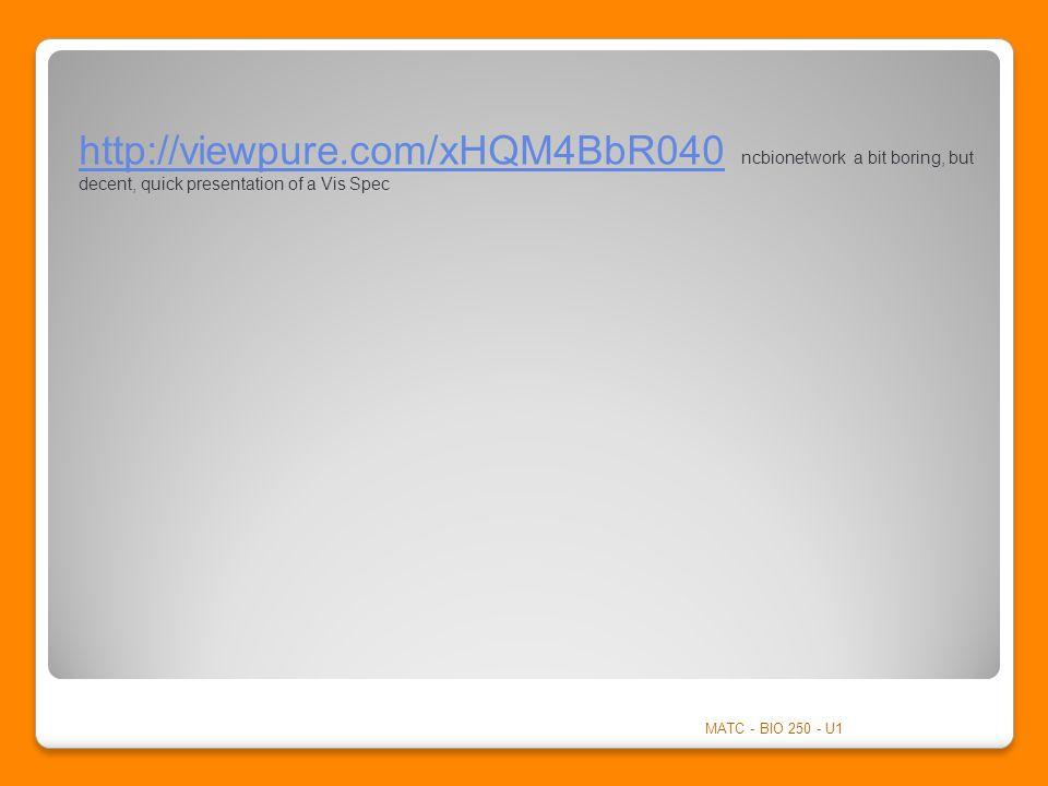 http://viewpure.com/xHQM4BbR040http://viewpure.com/xHQM4BbR040 ncbionetwork a bit boring, but decent, quick presentation of a Vis Spec MATC - BIO 250 - U1