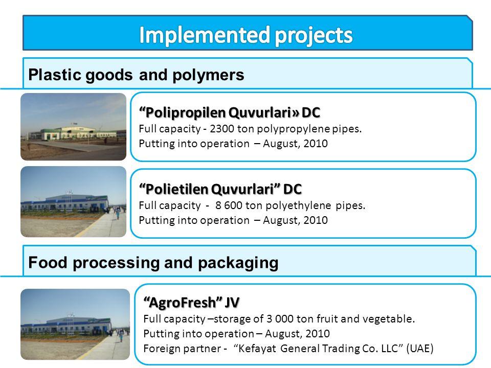 Polietilen Quvurlari DC Full capacity - 8 600 ton polyethylene pipes. Putting into operation – August, 2010 Plastic goods and polymers Polipropilen Qu