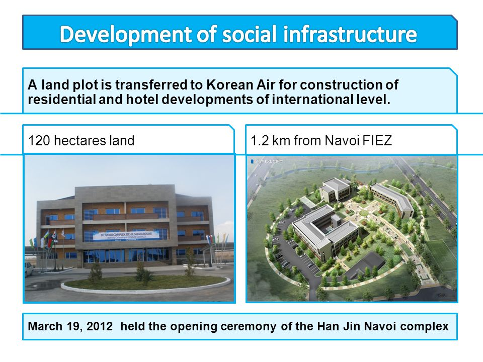 A land plot is transferred to Korean Air for construction of residential and hotel developments of international level. 120 hectares land1.2 km from N