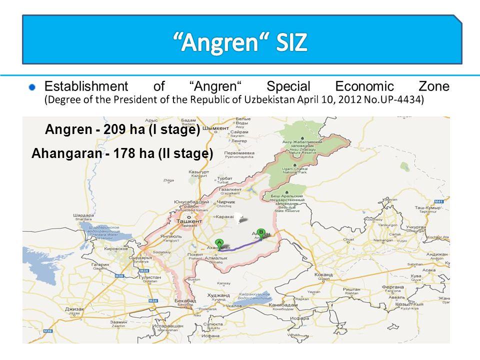 Angren - 209 ha (I stage) Ahangaran - 178 ha (II stage)