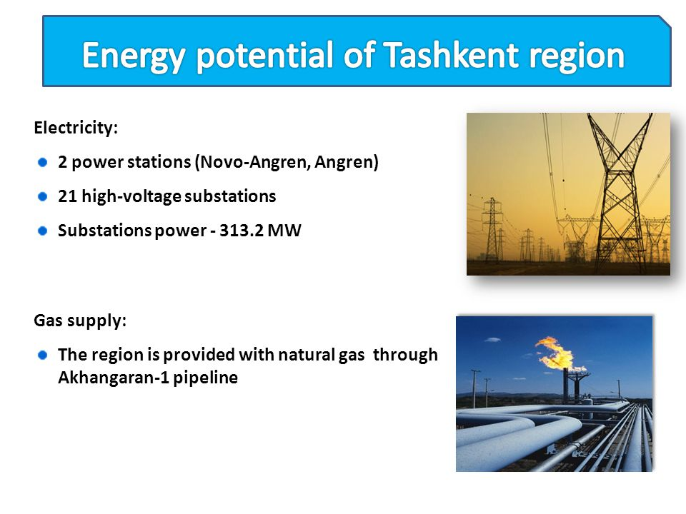 Electricity: 2 power stations (Novo-Angren, Angren) 21 high-voltage substations Substations power - 313.2 MW Gas supply: The region is provided with n