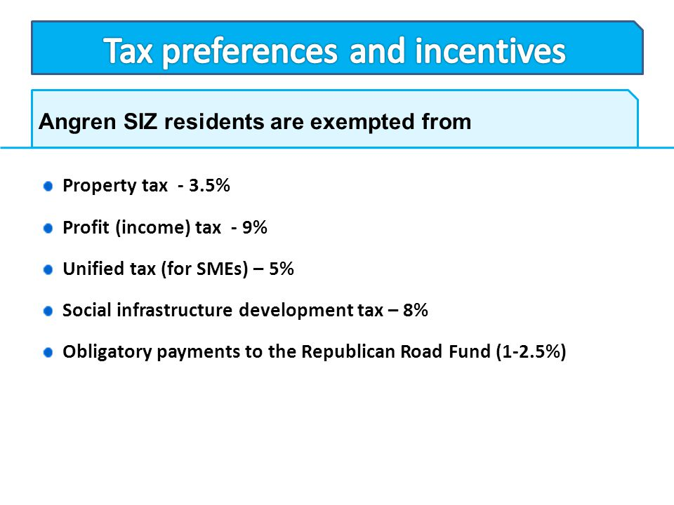 Angren SIZ residents are exempted from Property tax - 3.5% Profit (income) tax - 9% Unified tax (for SMEs) – 5% Social infrastructure development tax