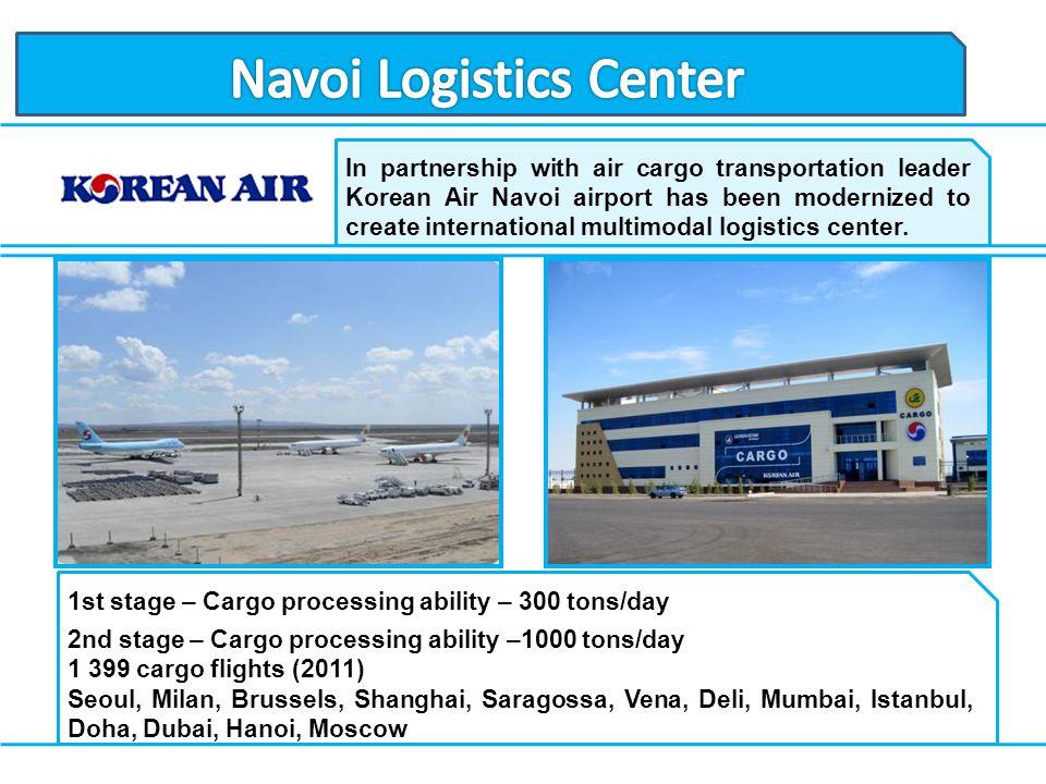 In partnership with air cargo transportation leader Korean Air Navoi airport has been modernized to create international multimodal logistics center.