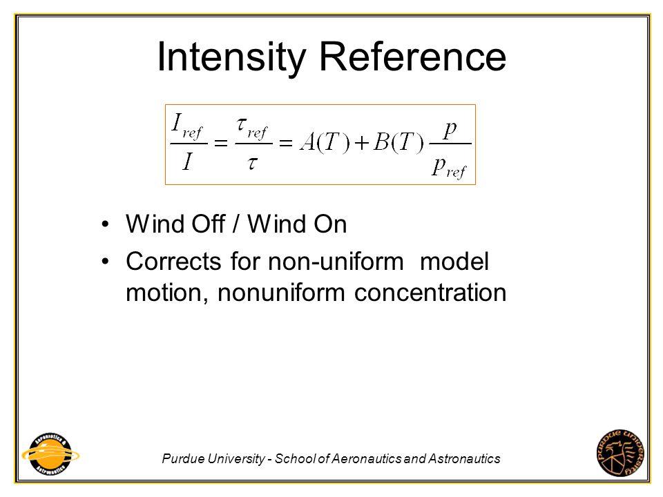 Purdue University - School of Aeronautics and Astronautics Intensity Reference Wind Off / Wind On Corrects for non-uniform model motion, nonuniform co