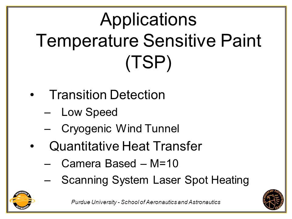 Purdue University - School of Aeronautics and Astronautics Applications Temperature Sensitive Paint (TSP) Transition Detection –Low Speed –Cryogenic W