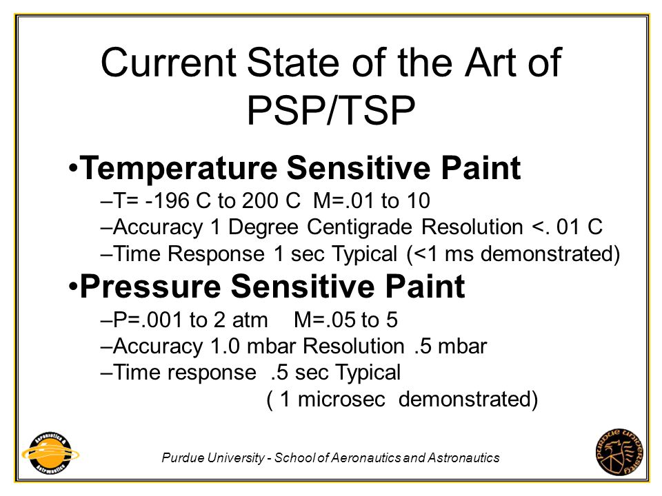Purdue University - School of Aeronautics and Astronautics Temperature Sensitive Paint Thermographic Phosphors Infrared Camera Temperature Sensitive Liquid Crystals Array of Thermocouples Global Surface Temperature Measurements Toolbox