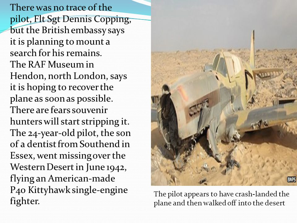 The pilot appears to have crash-landed the plane and then walked off into the desert There was no trace of the pilot, Flt Sgt Dennis Copping, but the British embassy says it is planning to mount a search for his remains.