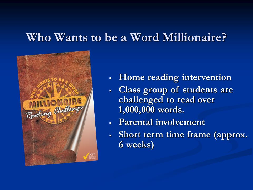 Who Wants to be a Word Millionaire.