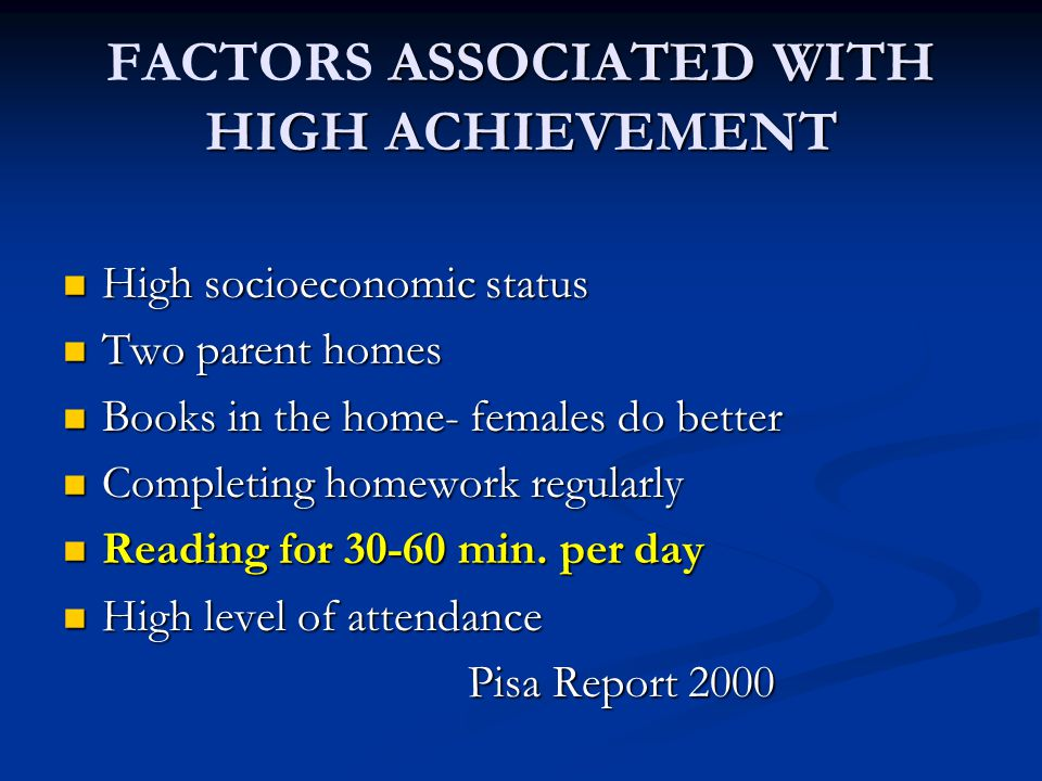ASSOCIATED WITH HIGH ACHIEVEMENT FACTORS ASSOCIATED WITH HIGH ACHIEVEMENT High socioeconomic status High socioeconomic status Two parent homes Two parent homes Books in the home- females do better Books in the home- females do better Completing homework regularly Completing homework regularly Reading for 30-60 min.
