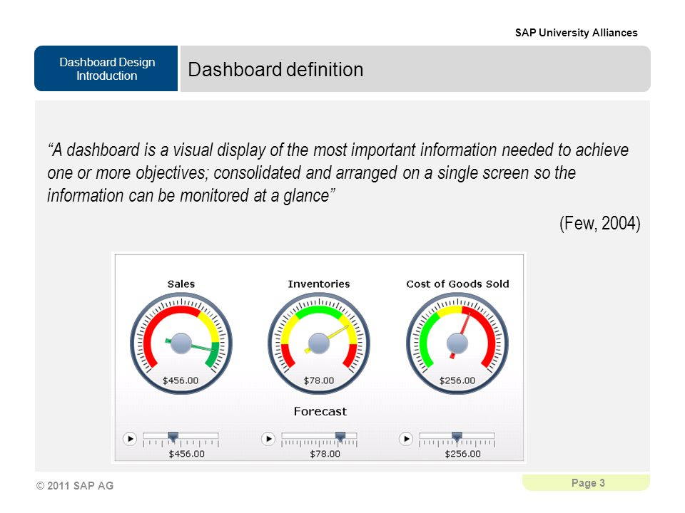 Dashboard Design Introduction SAP University Alliances Page 3 © 2011 SAP AG Dashboard definition A dashboard is a visual display of the most important information needed to achieve one or more objectives; consolidated and arranged on a single screen so the information can be monitored at a glance (Few, 2004)
