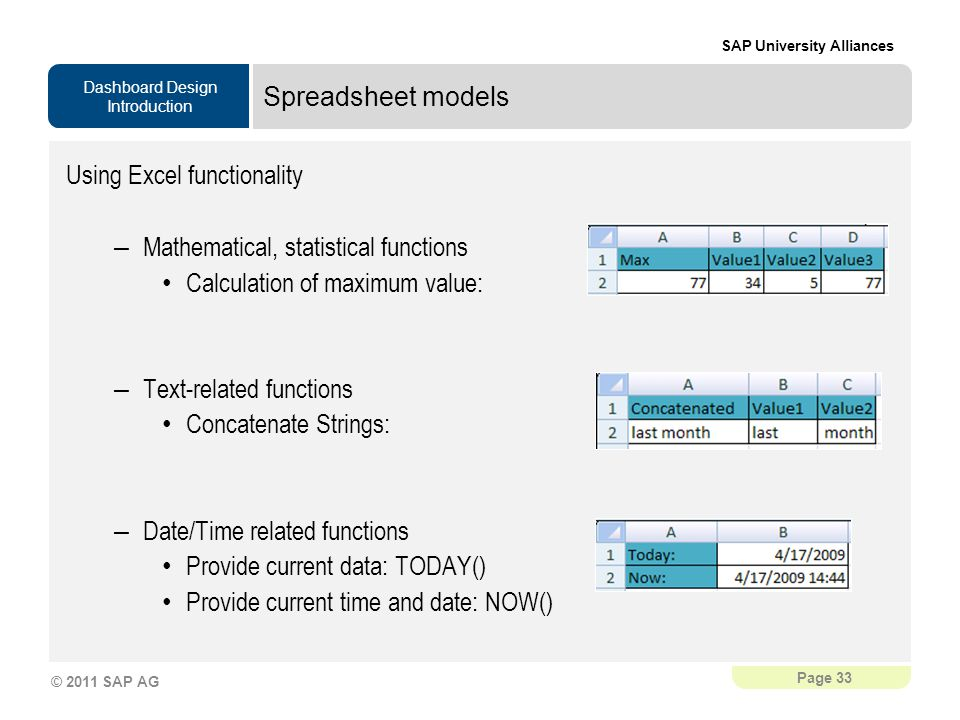 Dashboard Design Introduction SAP University Alliances Page 33 © 2011 SAP AG Spreadsheet models Using Excel functionality – Mathematical, statistical functions Calculation of maximum value: – Text-related functions Concatenate Strings: – Date/Time related functions Provide current data: TODAY() Provide current time and date: NOW()