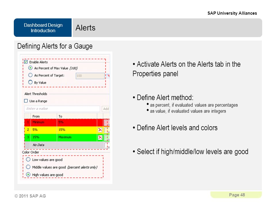 Dashboard Design Introduction SAP University Alliances Page 48 © 2011 SAP AG Alerts Defining Alerts for a Gauge Activate Alerts on the Alerts tab in the Properties panel Define Alert method: as percent, if evaluated values are percentages as value, if evaluated values are integers Define Alert levels and colors Select if high/middle/low levels are good