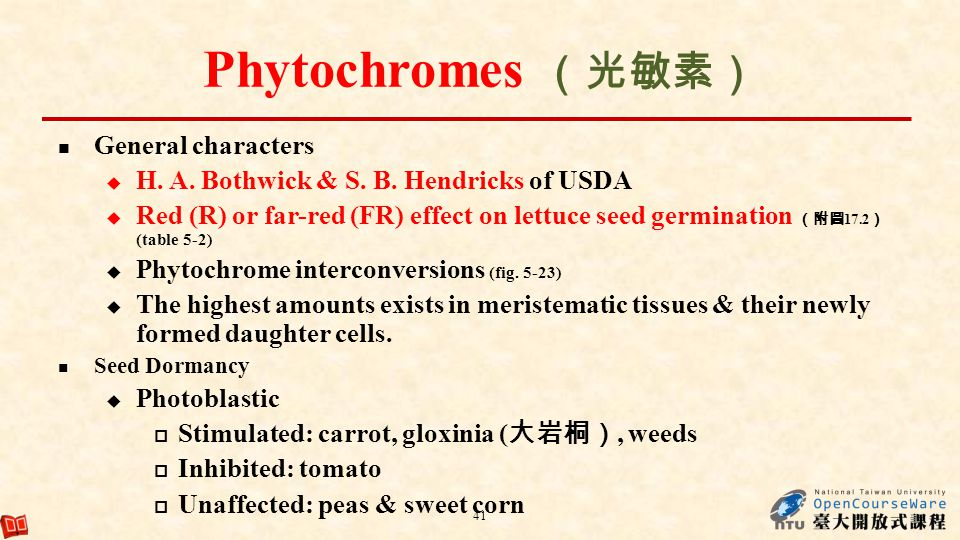 Phytochromes General characters H. A. Bothwick & S. B. Hendricks of USDA Red (R) or far-red (FR) effect on lettuce seed germination 17.2 (table 5-2) P