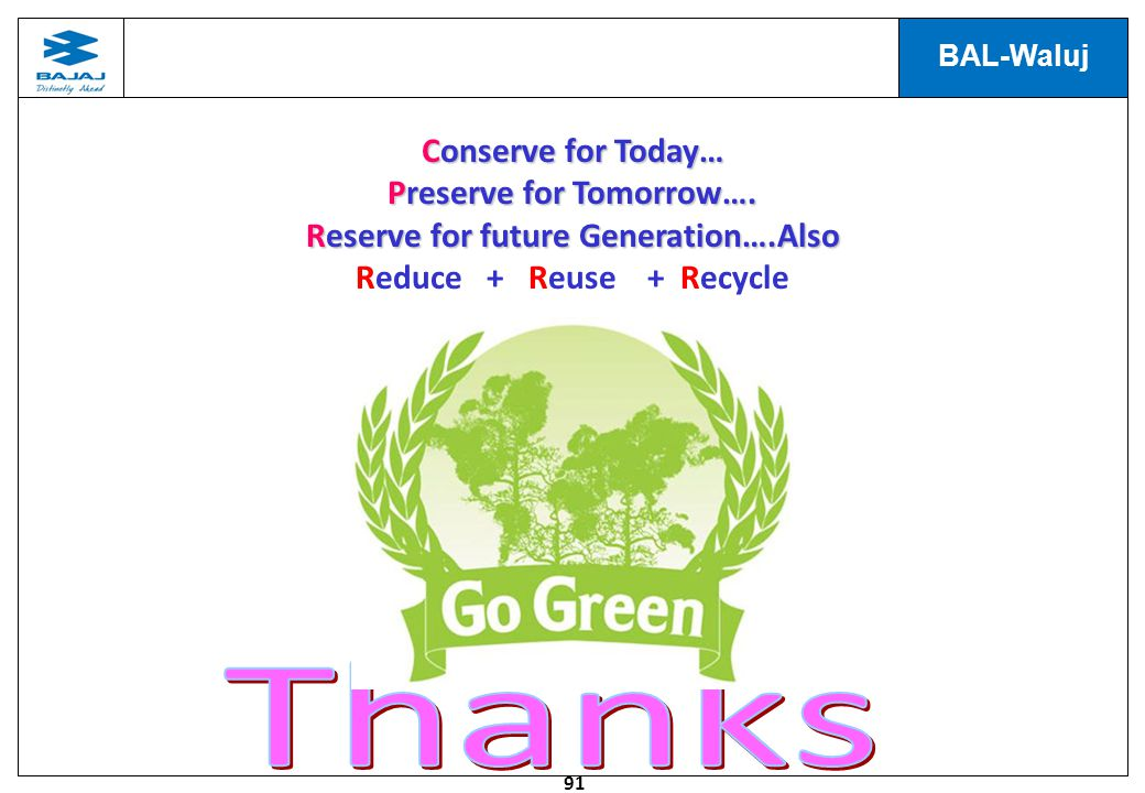 91 BAL-Waluj Conserve for Today… Preserve for Tomorrow….