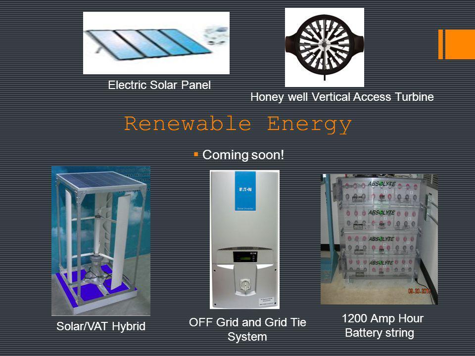 Renewable Energy Coming soon! Electric Solar Panel Honey well Vertical Access Turbine Solar/VAT Hybrid OFF Grid and Grid Tie System 1200 Amp Hour Batt