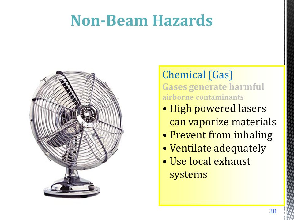 Chemical (Gas) Excimers involve use of toxic fluorine or chlorine gas Store in ventilated gas cabinets Use halogen detection and alarm systems or halo