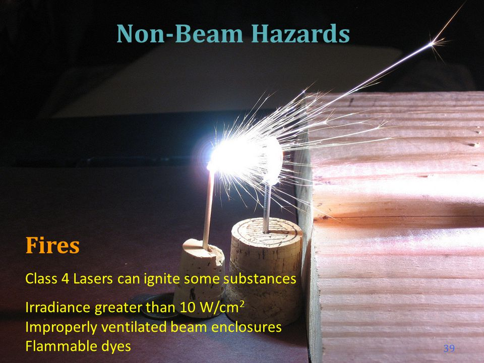 Chemical (Gas) Gases generate harmful airborne contaminants High powered lasers can vaporize materials Prevent from inhaling Ventilate adequately Use