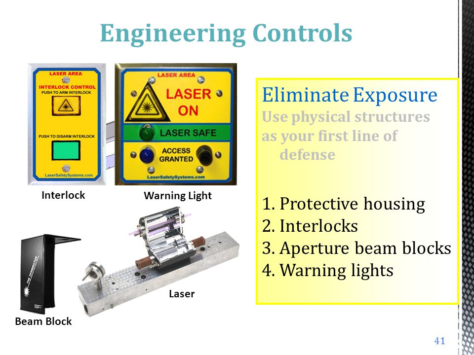 Fire Hazard Explosions and Radiation Separate flammables Construct with fire- resistant materials Keep fire extinguishers nearby Shield against radiat