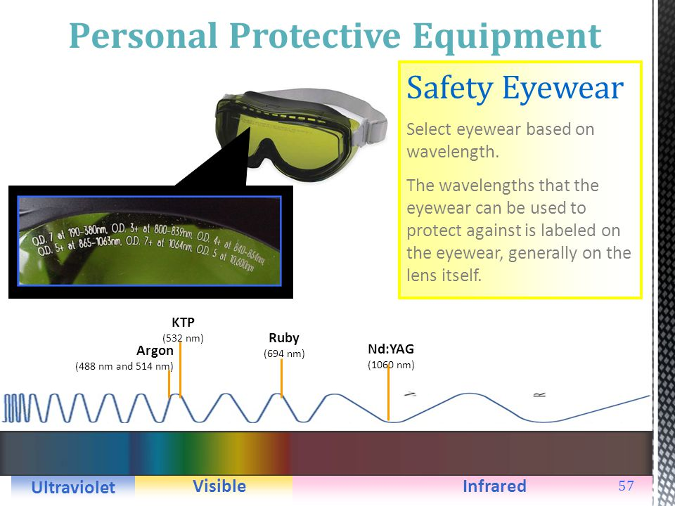 56 Personal Protective Equipment Safety Eyewear Use safety eyewear that protects against optical radiation through: Neutral density absorbs and reflec