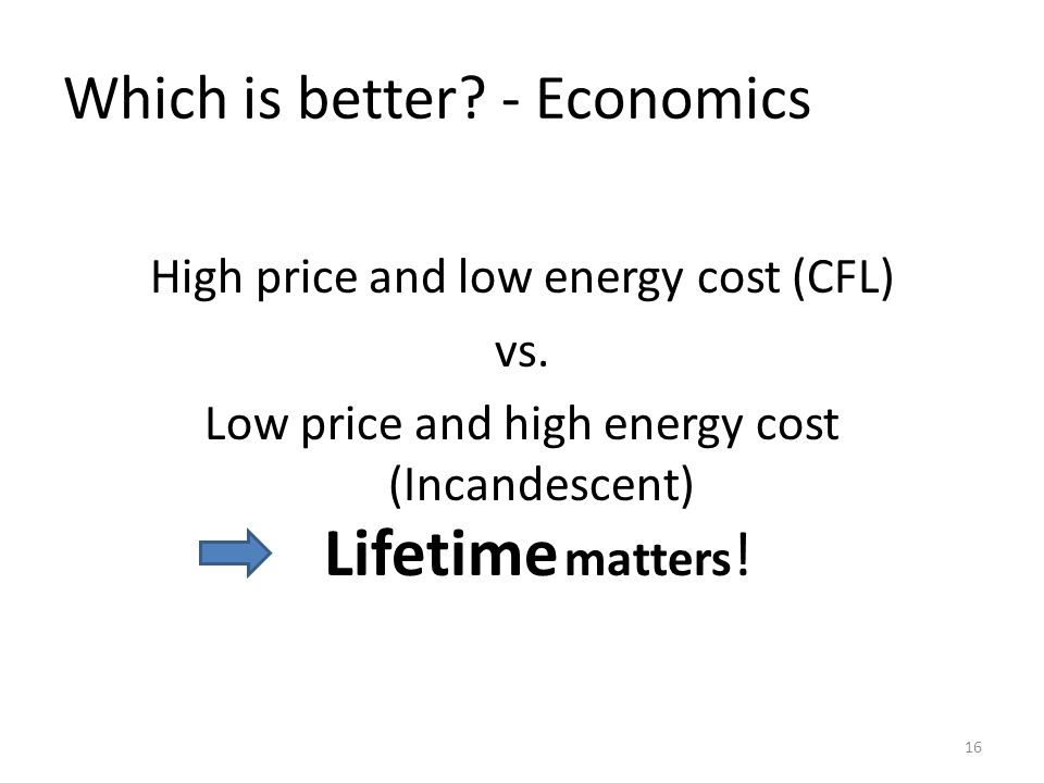 Which is better. - Economics High price and low energy cost (CFL) vs.