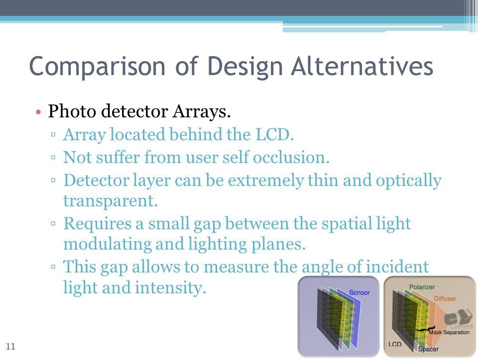 Comparison of Design Alternatives Photo detector Arrays.