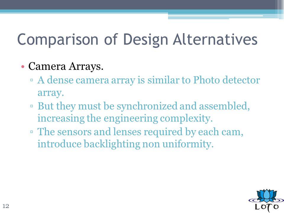 Comparison of Design Alternatives Camera Arrays.