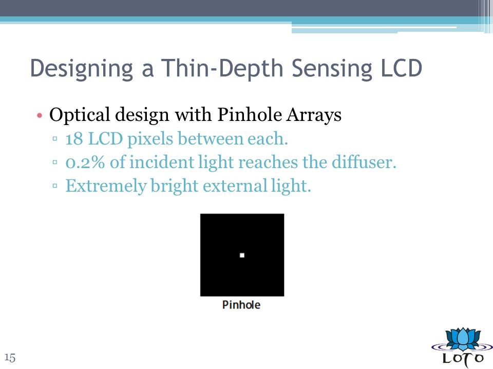 Designing a Thin-Depth Sensing LCD Optical design with Pinhole Arrays 18 LCD pixels between each.