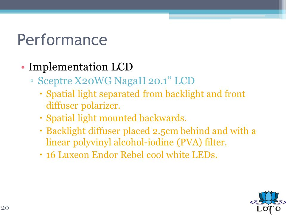 Performance Implementation LCD Sceptre X20WG NagaII 20.1 LCD Spatial light separated from backlight and front diffuser polarizer. Spatial light mounte