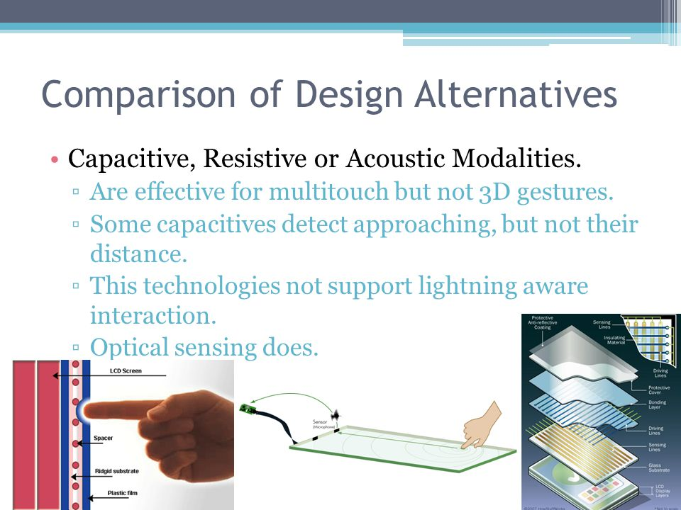 Comparison of Design Alternatives Capacitive, Resistive or Acoustic Modalities.