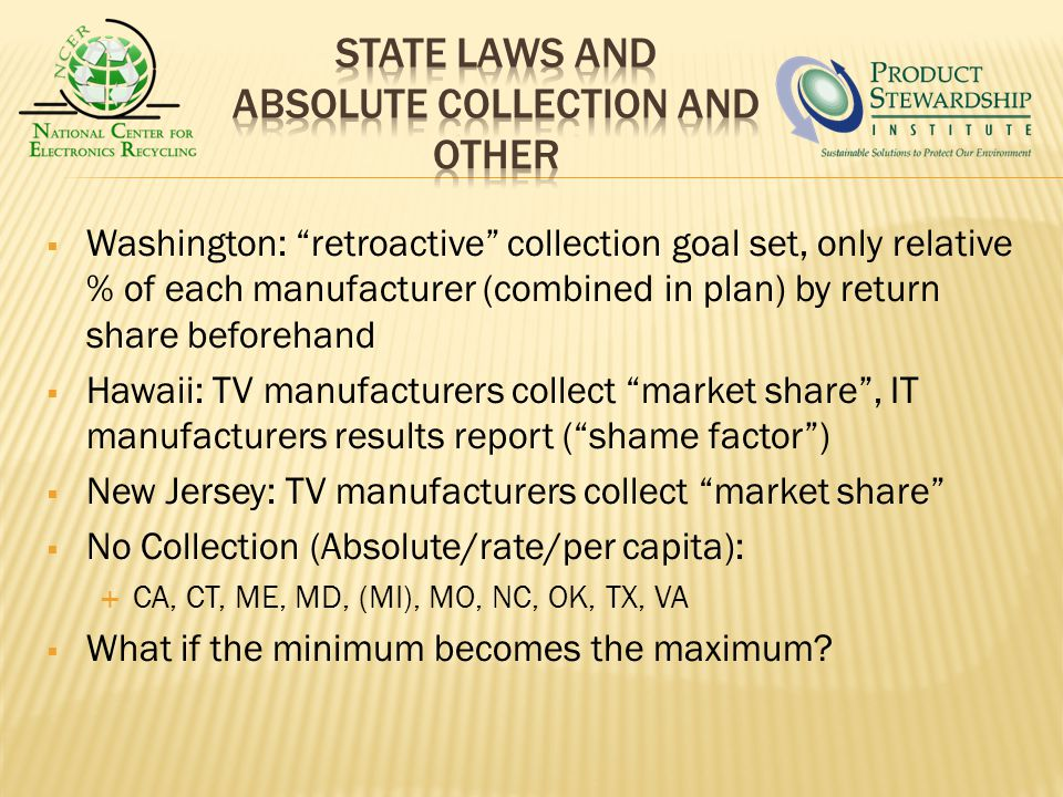 Washington: retroactive collection goal set, only relative % of each manufacturer (combined in plan) by return share beforehand Hawaii: TV manufacturers collect market share, IT manufacturers results report (shame factor) New Jersey: TV manufacturers collect market share No Collection (Absolute/rate/per capita): CA, CT, ME, MD, (MI), MO, NC, OK, TX, VA What if the minimum becomes the maximum