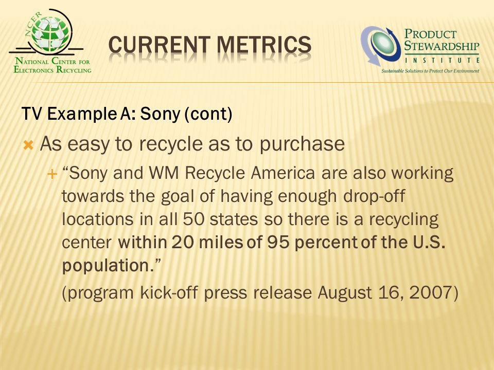 TV Example A: Sony (cont) As easy to recycle as to purchase Sony and WM Recycle America are also working towards the goal of having enough drop-off locations in all 50 states so there is a recycling center within 20 miles of 95 percent of the U.S.