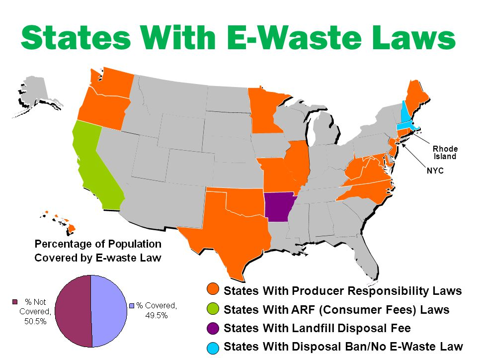 States With E-Waste Laws NYC Rhode Island States With Producer Responsibility Laws States With ARF (Consumer Fees) Laws States With Landfill Disposal Fee States With Disposal Ban/No E-Waste Law