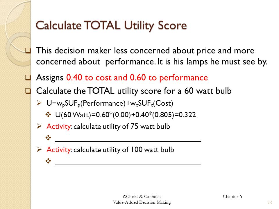 ©Chelst & Canbolat Value-Added Decision Making Calculate TOTAL Utility Score This decision maker less concerned about price and more concerned about performance.