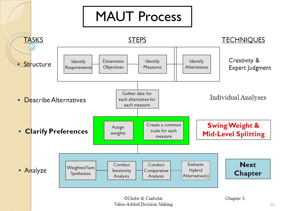 ©Chelst & Canbolat Value-Added Decision Making MAUT Process Describe Alternatives Clarify Preferences Analyze Structure TASKSSTEPS Weighted Sum Synthesize Conduct Comparative Analysis Evaluate Hybrid Alternative(s) Conduct Sensitivity Analysis Gather data for each alternative for each measure Assign weights Create a common scale for each measure Identify Measures Identify Requirements Determine Objectives Identify Alternatives TECHNIQUES Creativity & Expert Judgment Individual Analyses Swing Weight & Mid-Level Splitting 60 Chapter 5 Next Chapter